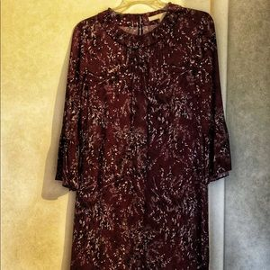 Nordstrom Signature bell sleeve berry print dress